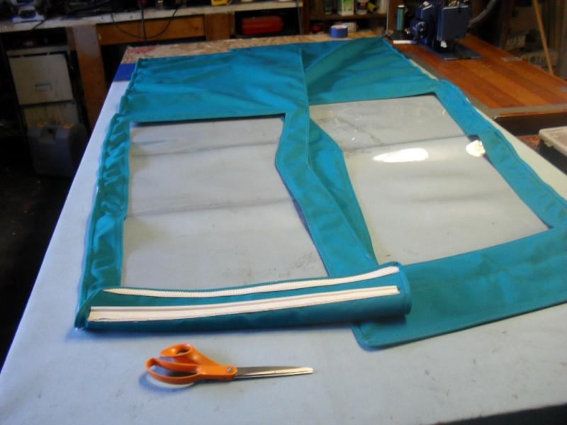 Sunbrella boat canvas repair - side curtain connector to bimini top