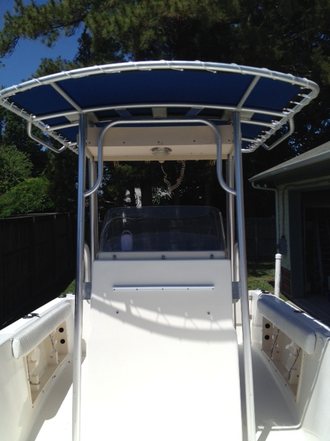 A Sunbrella T-Top Replacement Top For Center Console Fishing Boat